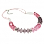 Mobile Preview: Kette, Facettenperle rosa-pink, Kordel, 45cm