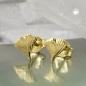 Ohrstecker 7mm Ginkgoblatt glänzend 9Kt GOLD