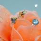Ohrstecker 4mm synthetischer Aquamarin 9Kt GOLD