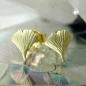 Ohrstecker 7mm Ginkgoblatt matt 9Kt GOLD