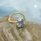 Nasenstecker 3x3mm Zirkonia aquafarben 18Kt GOLD