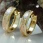 Creolen, tricolor diamantiert, 9Kt GOLD