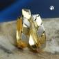 Creolen, bicolor, diamantiert, 9Kt GOLD