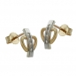 Preview: Ohrstecker 9,5x6mm bicolor mit Zirkonias 9Kt GOLD