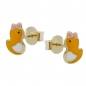 Mobile Preview: Ohrstecker 7x5mm kleine Ente farbig emailliert 9Kt GOLD