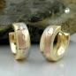 Creolen 12x5mm Klappscharnier tricolor diamantiert 9Kt GOLD
