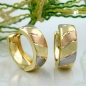 Preview: Creolen 12x5mm Klappscharnier tricolor diamantiert 9Kt GOLD
