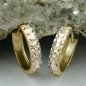 Preview: Creolen 12x3mm Klappscharnier tricolor diamantiert 9Kt GOLD