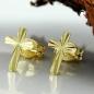 Ohrstecker 7,5x5mm Kreuz glänzend diamantiert 8Kt GOLD