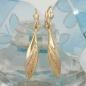 Ohrbrisuren 41x6mm tricolor teilmattiert diamantiert 9Kt GOLD