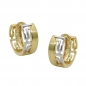 Preview: Creolen Ohrringe 12x5mm Klappscharnier bicolor rhodiniert 9Kt GOLD-431433