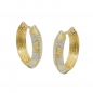 Preview: Creolen Ohrringe 14x3mm Klappscharnier kantig bicolor diamantiert 9Kt GOLD-431447