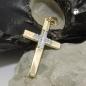 Schmuck Anhänger 29x19mm Kreuz bicolor 9Kt GOLD