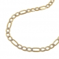 Preview: Kette 2,7mm Figaro-Panzer bicolor 14Kt GOLD 45cm