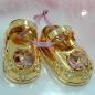 Tischdekoration 1 Paar Babyschuhe 52x27mm mit rosa Glas-Steinen -70576