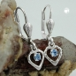 Ohrbrisuren 21x6mm Herz mit Glasstein hellblau Silber 925