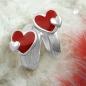 Creolen 11x2mm Klappscharnier Herz rot-farbig lackiert Silber 925