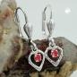Ohrbrisuren 21x6mm Herz Glasstein rot glänzend Silber 925