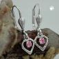 Ohrbrisuren 21x6mm Herz mit Glasstein pink glänzend Silber 925