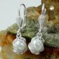 Ohrbrisuren 22x7mm Imitatperle weißwachs umwickelt Silber 925