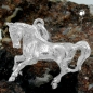 Anhänger 32x25mm großes Pferd massiv ausgeformt glänzend Silber 925