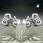 Ohrstecker 9x6mm Traktor geschwärzt Silber 925