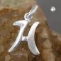 Anhänger 15x11mm Buchstabe H teilmattiert glänzend Silber 925