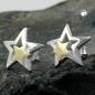 Ohrstecker 11mm Stern bicolor Silber 925