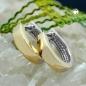 Creolen 11x2,7mm Klappscharnier bicolor vergoldet rhodiniert Silber 925
