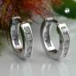 Creolen 12x3mm Klappscharnier Zirkonias weiß rhodiniert Silber 925