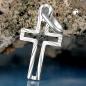 Anhänger 16x9mm Kreuz diamantiert Mitte offen Silber 925
