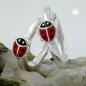 Creolen 14x2mm Klappscharnier Marienkäfer rot-schwarz lackiert Silber 925