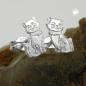 Ohrstecker 8x5mm Katze matt-glänzend Silber 925