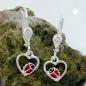 Ohrbrisuren 22x8mm Herz mit Marienkäfer rot-schwarz lackiert Silber 925