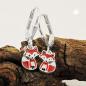 Ohrbrisuren 22x6mm Fuchs rot-weiß-schwarz lackiert Silber 925