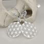 Ohrbrisuren 32x16mm Blume des Lebens glänzend Silber 925