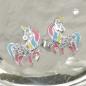 Ohrstecker 10x8mm Kinderohrring Fabelwesen Pferd mit Horn Zirkonia Silber 925