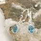 Ohrbrisuren 23x5mm ovaler Glasstein blau-türkis Silber 925