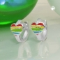 Creolen Herz Regenbogen farbig Silber 925