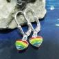 Ohrbrisuren Regenbogen farbig Lack Silber 925
