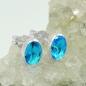 Ohrstecker Glasstein blau-türkis Silber 925
