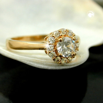Ring, Zirkonia, gold-plattiert 3 Micron -30069-62