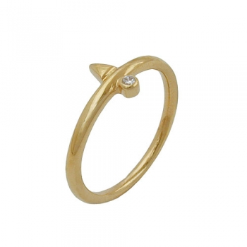 Ring, kl. Zirkonia, gold-plattiert -30085-62