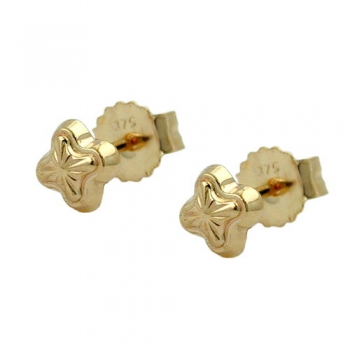 Ohrstecker 4mm Stern mit Muster 9Kt GOLD