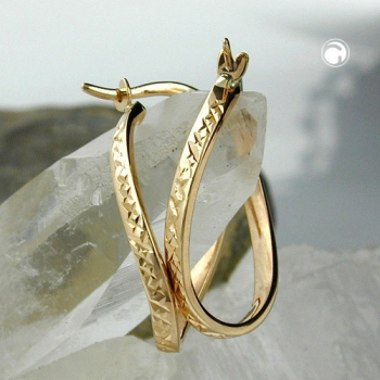Creole, oval, diamantiert, 9Kt GOLD