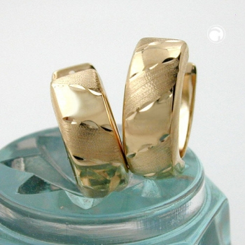Creolen Ohrringe 12x5mm Klappscharnier matt diamantiert 9Kt GOLD-431186