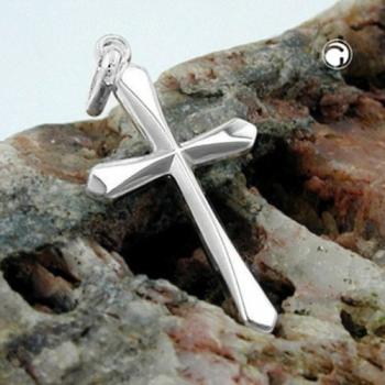 Anhänger, Kreuz glänzend, Silber 925