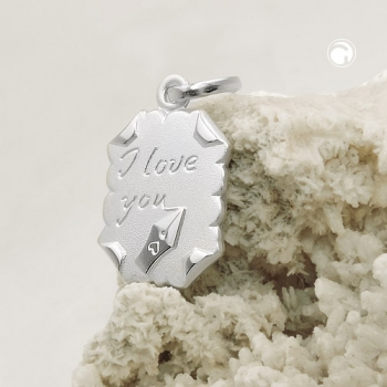 Anhänger 22x15mm Brief -I love you- Silber 925
