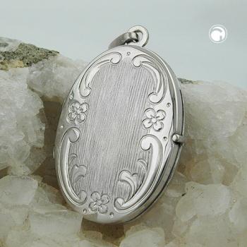 Schmuck Anhänger - Medaillon, Blumenmuster - oval - Silber 925