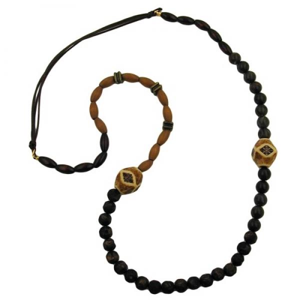 Halskette, dunkelbraun-ahorn-altmessing -00124 Preisvergleich